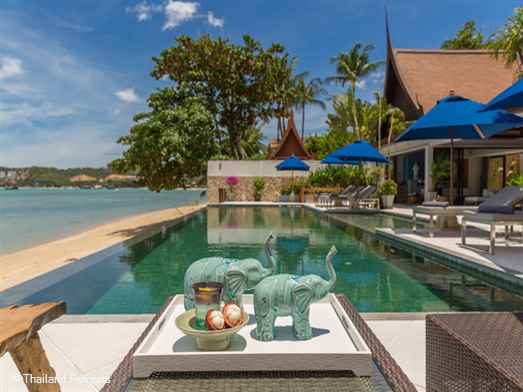 Baan Capo is a stunning Koh Samui luxury beachfront holiday villa set on palm fringed Big Buddha beach, Koh Samui with views over to Koh Phangan. Minutes away from popular Fisherman's village. Offers rates for 3 bedroom and 4 bedroom occupancy.