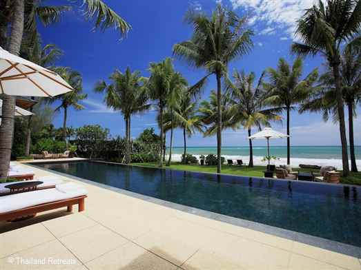Villa Nandana is a private stand alone luxury beachfront vacation villa located on beautiful Natai beach.  Centred around a 20m swimming pool the villa has appealing contemporary facilities as well as it's own gym. Tropical living at it's best and perfect for that dream wedding.