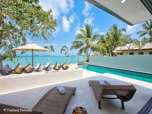 "<p>Samui Beautiful Beach Villas is a Koh Samui beachfront property set on stunning Big Buddha beach perfect for extended families and groups of friends. Close to Bophut and 10 minutes from lively Chaweng. <span style=""color: #000080;"">Reduced rates for 3,4,5 and 6 bedroom occupancy with exclusive use of the villa</span></p>"