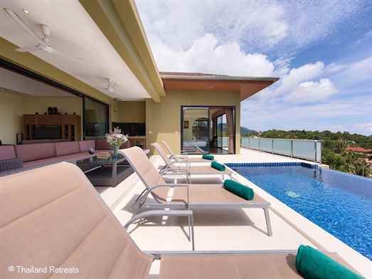 "<p>Sunny Banks - a 4 bedroom villa has accommodation on one level elevated above the beach with great sea views conveniently located few minutes away from <a href=""https://www.thailandretreats.com/Location/Lamai"">Lamai </a>town in the south of Koh Samui. 15 - 20 minutes to <a href=""https://www.thailandretreats.com/Location/Chaweng"">Chaweng.</a>&nbsp;<span style=""font-size: 10pt;""><strong><span style=""color: #000080;"">Full staff &amp; Chef service</span></strong></span></p>"