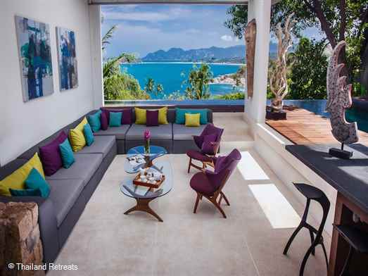 "<p>Villa Hin is a 3-5 bedroom luxury Koh Samui villa enjoying stunning views and spacious living spaces inside and out. Close to amenities and popular beaches. Communal tennis court. Perfect holiday villa for a family or group of friends. <span style=""font-size: 10pt; color: #000080;""><strong>Reduced rates for 3 &amp; 4 bedroom occupancy with exclusive use of the villa.</strong></span></p>"