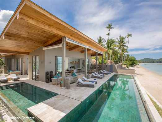 Villa Kirana  is a vast 6 bedroom beachfront villa including kiddies playroom and separate shallow pool located on the tranquil south coastline of Koh Samui with stunning views over to the neighbouring islands