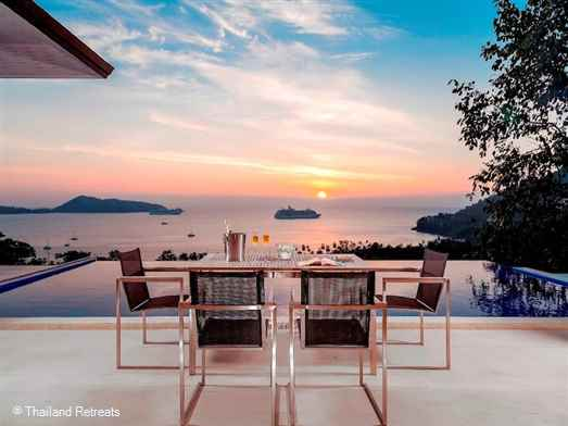 Panoramic View villa is a stunning modern style and funky luxury 6 bedroom villa 60m above the bay of Patong and a few minutes to Patong beach. The sleeps up to 14 persons and has a pool table and basketball hoop and air conditioned squash court.