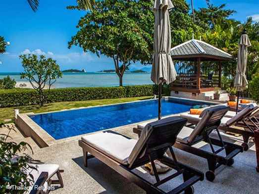Villa Plumeria Is a beachfront villa with private pool conveniently located a short distance from the popular Fisherman's Village at Bophut and the lively town of Chaweng. Situated on a quiet beach the villa is ideal for couples or family.