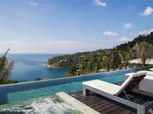 Villa Saan is a modern Phuket villa boasting 8 spacious en-suite bedrooms with stunning ocean views. Offers elegant living and dining areas including a home cinema, games room with pool table and a19m pool and a gym with spa facilities. Ideal for large groups, celebrations and events.