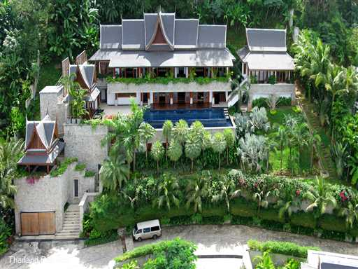 Villa Shambala is a beautifully furnished stunning Phuket villa overlooking Surin beach and Bang Tao beach. Lift access from car park area . 20 meter pool. Ideal wedding villa