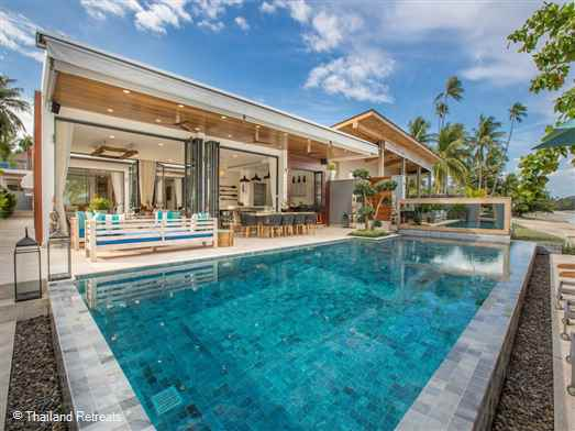 Villa Suma is a beachfront contemporary villa with a cutting edge design set on the on the quiet shores of Laem Sor beachin the south of Koh Samui. Offers rates for 6 bedrooms + kiddies room and reduced occupancy for 4,5 and 6 bedrooms only.