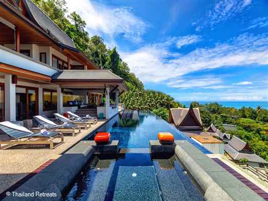 Villa Yang Som is a luxury Phuket villa located on a high end Surin Beach estate with accommodation spread over 6 floors serviced by two elevators with 3 main living areas and a practical children's room / cinema room. Fabulous swimming pool and panoramic ocean views and sunset views.