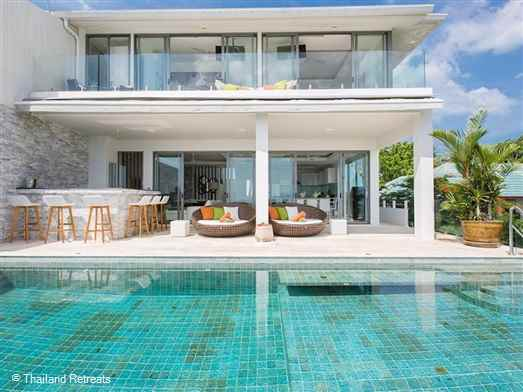 Villa Sanctuary Apsara is a stylish 'penthouse' villa designed contemporary style boasting some of the best sunset views on the island. Located on a ridge within an exclusive development with a secure gate it is just a short drive to some of the best beaches on Koh Samui.