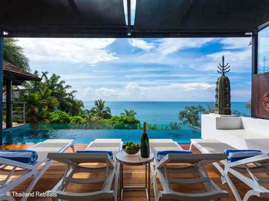 Sawan And a is a spacious and stylish 3 bedroom Phuket holiday villa located just a short distance from Surin beach. The villa features beautiful ocean views, fitness equipment and a pool table