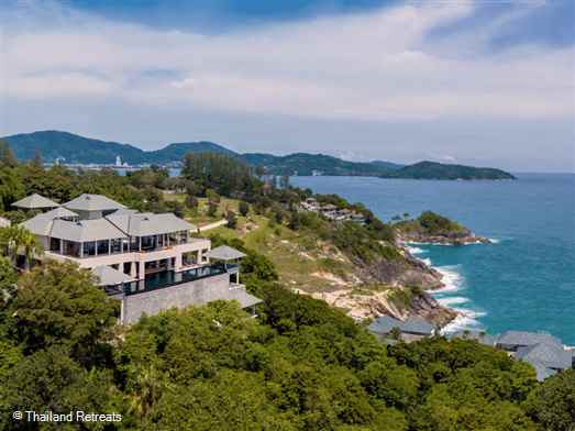Ban Paa Talay Estate is a sleek an spacious villa  with spectacular ocean views and superb facilities. The 4 levels of accommodation include a 2 bedroom ocean villa and a honeymoon hideaway. Offers rates for 7 and 9 bedroom use.