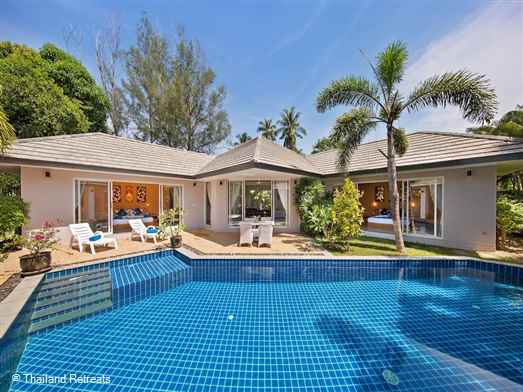 Lipa Talay Haa is a large 2 bedroom villa located within a small group of similar villas. Each of the villas are very private and within walking distance to a beautiful white sand beach located on the west coast of Koh Samui.  Offers rates for 1 or 2 bedroom occupancy