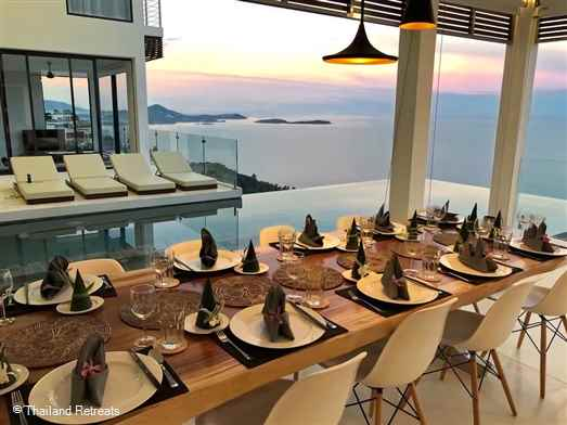 180 Samui is a 5 bedroom luxury villa offering panoramic views of the white sand beach and neighbouring coral coves of Chaweng Noi. Has fitness room, pool table and roof terrace with BBQ.