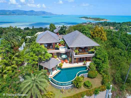 Vila Uno is most probably the largest 4 bedroom villa on Koh Samui. Set in beautiful gardens with 2 waterfalls the villa has 270 degree panoramic views and 2 swimming pool facing the sunrise and sunrise. Has a fully equipped gym and sauna.