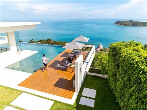 "<p>Villa Natha is a stunning contemporary design 3-5 bedroom luxury villa located just a short distance from Chaweng Beach. Breathtaking views, 23m L-Shaped swimming pool, 2 lounges cinema room &amp; fitness area. <span style=""font-size: 10pt; color: #000080;""><strong>Reduced rates for 3 &amp; 4 bedroom occupancy</strong></span></p>"