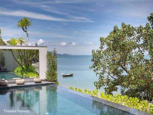 """<p><span>Clay Beach Samui is a spacious and luxurious highly styled 5 bedroom suite beachfront villa&nbsp; sitting directly on Bophut beach at the western end of the bay. Featuring 3 swimming pools and a plunge pool the villa is perfect for extended families and groups of friends. <span style=""""font-size: 10pt;""""><strong><span style=""""color: #000080;"""">Reduced rates for the use of 4,3 &amp; 2 bedroom occupancy only</span></strong></span></span></p>"""